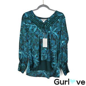 NWT H Halston M Teal Leaves V Neck Long Sleeve Top